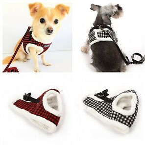 Dog Harness & Lead Set Coat Puppy Small Breeds Red or Black Check Fur XS-L