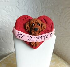 Goldendoodle Valentine Dog Pin Sculpture dog jewelry Clay by Raquel at theWrc