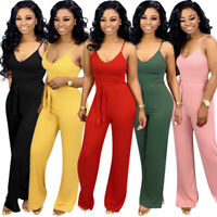 New Women Solid Spaghetti Strap Belted Sleeveless Casual Summer Club Jumpsuit