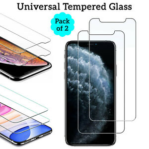 2X Universal Transparent Clear TEMPERED GLASS Screen Protector Film For Phones
