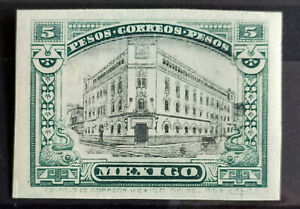 MEXICO 1915 $5 P.O. BLDG. IMPERF GREEN & BLK COLOR PROOF Mint hinged Sc 514var