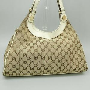 GUCCI GG Pattern Canvas Tote Bag Purse Beige White 154981 001998 Made in Italy