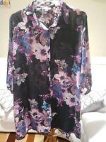 Avenue Womens Blouse Floral Button up Top Multicolor Plus 18/20 collard tunic