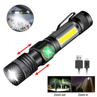 50000LM T6+COB Zoomable LED Flashlight USB Rechargeable Torch With Magnetic Base