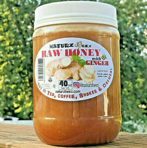 RAW HONEY with GINGER 2.5 Lbs / 40oz 100% PURE USA HONEY