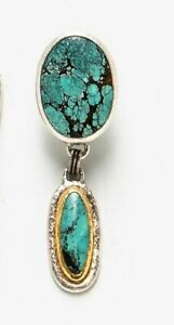 A PAIR GURHAN Double Turquoise Hammered 24K Gold & Sterling Silver Drop Earrings