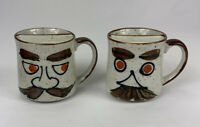 SET OF 2 Vintage Spill Proof Ceramic Funny Mustache Man Face Coffee Mugs Tea Cup