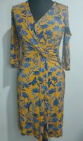 Joe Browns Mock Wrap Dress Size 8 Floral Flower Mustard Navy Shabby Chic New