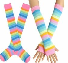 Pansexual Transgeder Knee High Socks Arm Warmer Fingerless Glove Set LGBT Pride