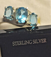 SIZE 7 SWISS BLUE TOPAZ 3 STONE RING-2.24 CTS n 925 STERLING SILVER-SET IN TEXAS