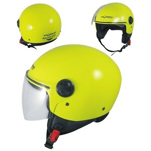 Open Face Jet Helmet Lid Motorbike Scooter Quad Visor  A-PRO Fluo