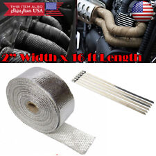 """2"""" 15ft Exhaust Header Downpipe Pipe Chrome Heat Wrap 6 Ties For VW Porsche Audi"""