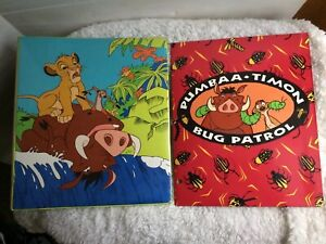 "Disney Lion King Simba Timon Pumbaa 1"" 3-Ring Binder Rare Vintage w/Folder HTF"