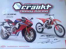HONDA MOTORCYCLE SIGNED RACING TEAM POSTER CBR MOTOCROSS ACERBIS ALPINESTAR 123