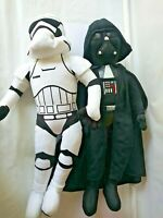 "27"" Star Wars Set Darth Vader & Storm-troopeR Plush Jay Franco BLACK+WHITE SOFTY"