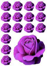 24 Purple Rose Flower **FAB** Edible Cupcake Topper Decorations