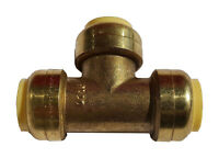 """3/4"""" SHARKBITE STYLE PUSH FIT TEES (10 PIECES) - LEAD FREE BRASS 3/4 X 3/4 X 3/4"""