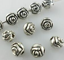 40pcs Ancient Silver Round Rose Flower Spacer Beads 5mm