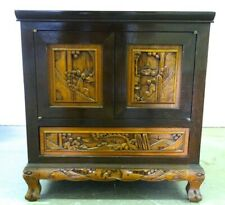 George Zee Mahogany Hand Carved Side Table/Cabinet Kiln Dried, 1960s