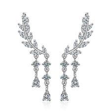 925 Sterling Silver Zircon Water Drop Wing Stud Earrings Wedding Party Jewelry