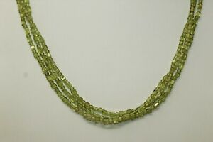 "Vintage 14K Yellow Gold 3-Strand Light Green PERIDOT 18.5"" Necklace"