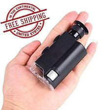 Microscope 200X - 240X LED UV Light Pocket Mini Magnifier Loupe Glass Zoom Small