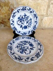 Blue Danube Onion Design Set of 3 Bread/Butter Plates Blue/White Floral