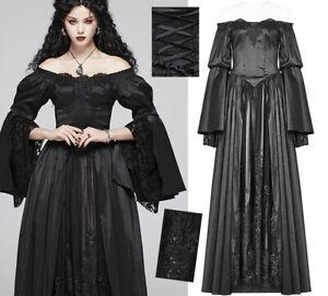 Robe bal gothique princesse baroque mariée satin brodé dentelle Punk Rave Noire