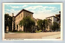 Minneapolis MN, City Hospital, Vintage Minnesota Postcard