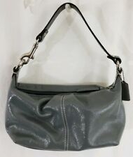 Authentic Coach Small Grey Patent Leather Hobo Hand Bag Purse