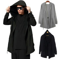 Mens Gothic Hoodie Cloak Cape Long Trench Coat Punk Hooded Outwear Casual Jacket