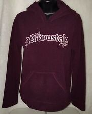 Aeropostale Woman's Burgundy/White/Pink Logo Tomboy Fit Fleece Hoodie Size S