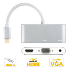 USB C Type-C to 4K HDMI VGA 3.5mm Audio USB2.0 Adapter Cable for PC Macbook