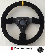 SUEDE FLAT DRIFT SPORT RACE STEERING WHEEL AND BOSS KIT HUB FIT PEUGEOT 106 SAXO