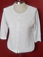 Talbots Women's Cardigan Crochet Sweater White Long Sleeve Size Petite Medium