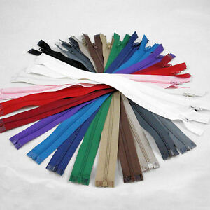 """12"""" - 28"""" OPEN ENDED NO.3 NYLON ZIPS *9 SIZES & 17 COLOURS* ZIPPER SEWING"""