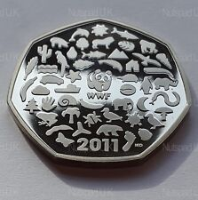 2011  Proof Fifty Pence coin 50th Anniversary Of The World Wildlife Fund  50p