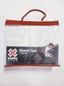 "Jay Franco X Games Gear 3 Piece Full Sheet Set White Gray Dragon Print 54x75"""