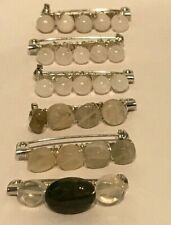 Silver Plated 3.5cm Pins with Wire Wrapped Semi Precious Moonstone Beads