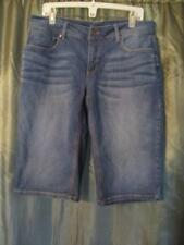 16 FADED GLORY DENIM CAPRIS BLUE SOLID COTTON/POLYESTER POCKETS FRONT ZIPPER