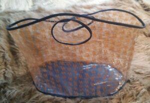 DOONEY & BOURKE Large DB1975 Clear Carryall Tote Blue Cloth Trim Beach Bag