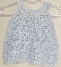 New Handmade Crochet  Size 6-12 Months Baby Blue Pineapple Sleeveless Dress