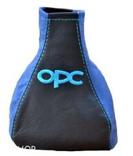 FOR VAUXHALL OPEL ASTRA G COUPE GEAR GAITER BLUE EMBROIDERY OPC LEATHER / SUEDE