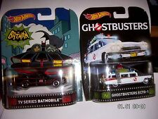 HOT WHEELS 2016 RETRO  BATMAN TV Series Batmobile &  Ghostbusters Ecto-1  1:64