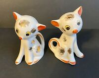 Vintage Small Porcelain Kittens Salt and Pepper Shakers Hand painted ~ JAPAN