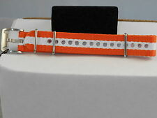 Fossil Orange White Canvas 18MM Interchangeable Watch Band Watchband AMS132 $25