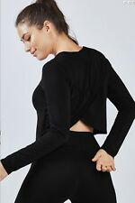 NWT $50 Fabuletics Avery Long Sleeve Twist Back Top Black Size Medium