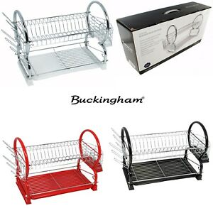 Buckingham Deluxe 2 Tier Chrome Plated Dish Drainer Cup Glasses Cutlery Rack