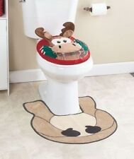 3D Moose 2-Pc Holiday Toilet Lid & Rug Sets Cabin Lodge Commode Set