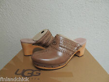 UGG VIVICA FAWN BROWN LEATHER/ SHEARLING CLOGS, WOMENS US 6/ EUR 37 ~ NEW